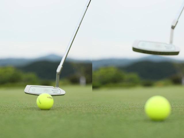 画像: ライジングパットは「打つ」のではなく「転がす」。フェース面の角度は変えず、ロフトどおりに当てて引き上げるだけ。インパクト直後から順回転で転がるのでしっかり目標に向かう