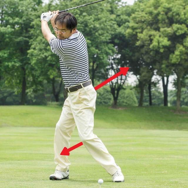 画像: バックスウィングでは左ひざが前に出て、右のお尻が後ろに上がっていく。ダウンスウィングでは左ひざが後ろに下がって、右足を蹴る。さっそうと歩くように、スッと足が出て伸びる感覚を意識すれば、「上げて、上げる」という2拍子スウィングに変身できる