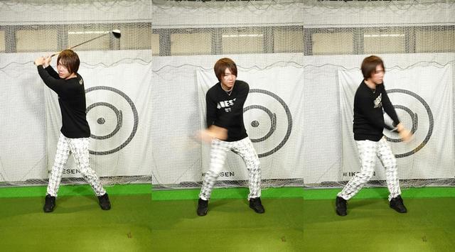 画像: (写真A)腕・クラブと体が同時に動いているスウィング