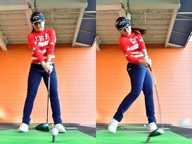 画像: ドライバーと同じ高さにティアップしたボールを3番ウッドで打つ。河本の定番の練習だ(撮影/有原裕晶)