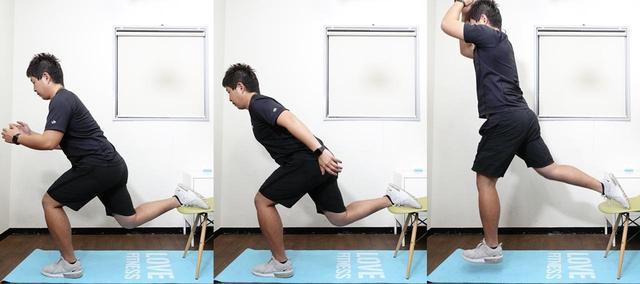 画像: 椅子を使って行う「片足スクワットジャンプ」。かなり強度の高いトレーニングだ