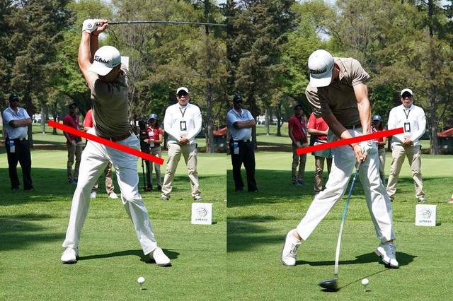 画像: バックスウィングで20度左、ダウンスウィングで10度右に骨盤が傾くのが理想的