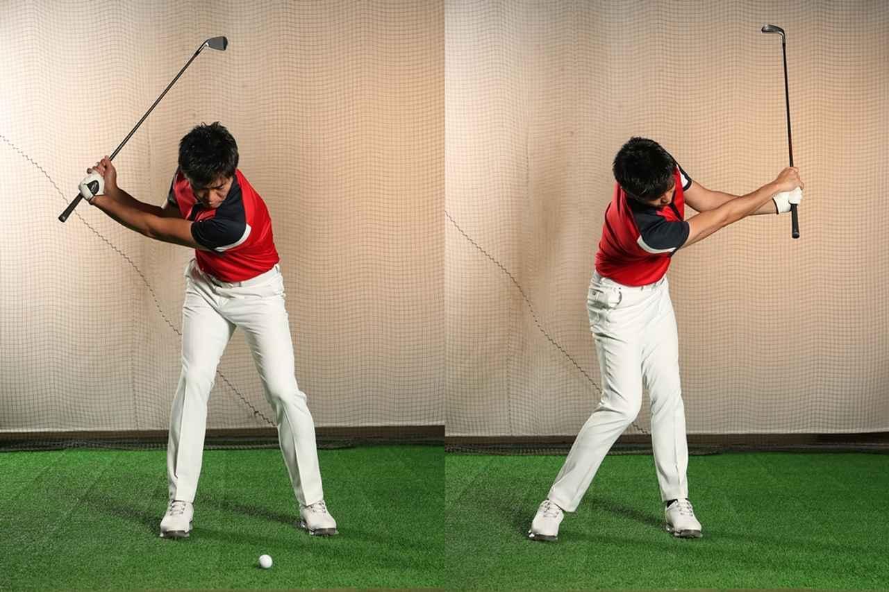 画像: SWなどの短いクラブをさらに短く持ち、「前後軸」を意識しながら素振りをしてみよう。左右の肩が入れ替わるようにタテ回転する感覚がつかめるはずだ