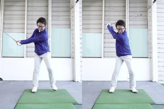 画像: 左の足を上げながらバックスウィングを続け、踏み込んだときにはトップに収まっているようにしよう。