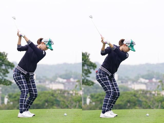 画像: 写真B:手のポジションはトップの位置(左)と切り返し後(右)でほぼ同じだが、下半身はしっかりと動いているのがわかる