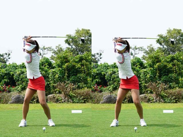 画像: 写真A トップの直前で左のお尻やひざがアドレスの位置に戻るように動く。これにより上半身と下半身の捻転差が生じる