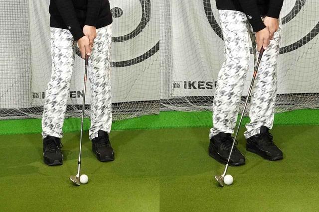 画像: クラブが寝ていると(左)ボールの下をくぐり抜けてしまい、上手く力を伝えられない。フィニッシュを取らない振り方をすることで自然とハンドファーストになり(右)ボールをしっかり押せる