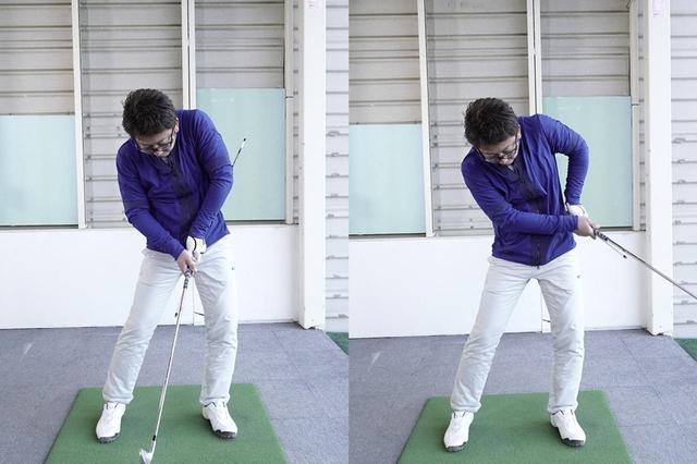 画像: (写真A)体が正面を向いたまま回転が止まっているのに腕は動いている。これが左ヒジの引けの原因だ