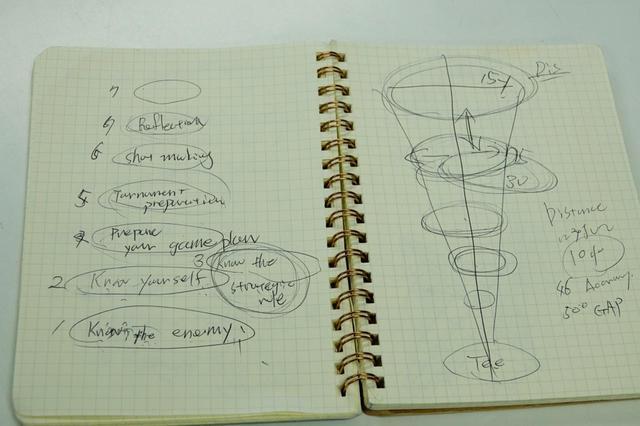 画像: コースマネジメントとはどういうことなのか、本を読むなどして勉強し、気づいたことをノートにまとめているという
