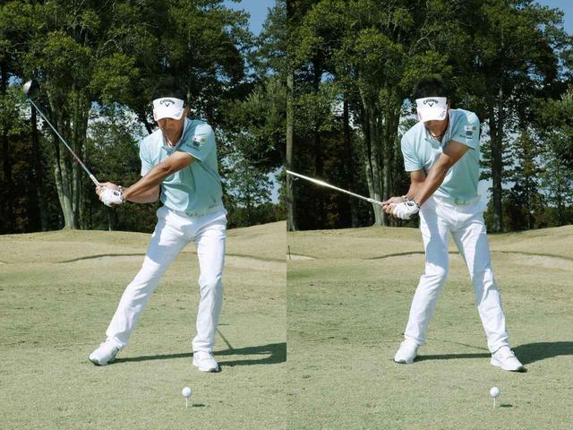 画像: 写真左のように体重移動を意識するのではなく、写真右のように右足体重のまま振り切るイメージを持とう