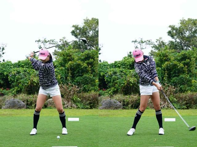 画像: 写真2:ややガニ股になるように下半身から切り返し(左)左手の甲がターゲットを向くようにインパクトを迎えている(右)