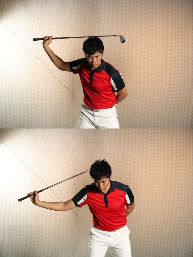 画像: 切り返しは、下半身が先行して上半身が後からついていく動きになる。手元(グリップ)を体から遠ざけるように動かすと、このイメージがつかみやすい