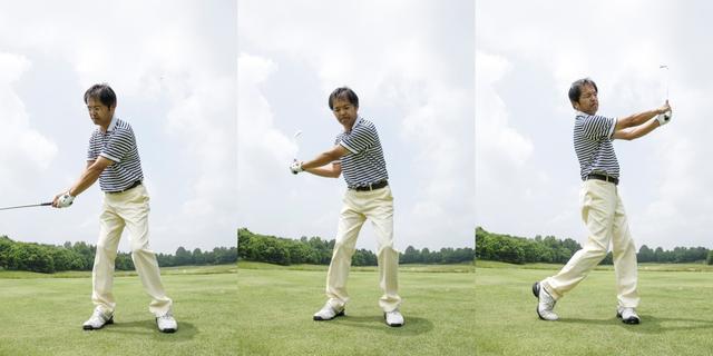 画像: 腰の乗った歩きというのは、体重移動がスムーズに行われている状態ともいえる。その状態のままスウィングできれば、「腰の乗ったスウィング」となる