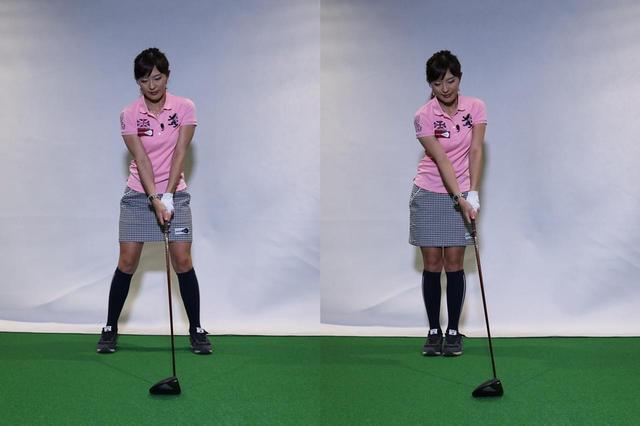 画像: 普段のアドレス(1)から、左足を右足の方へ寄せる(2)