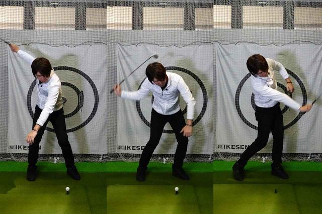画像: ティに乗せたボールを右手だけで打ってみよう。両手だと運動が止まらないイメージを付けるのが難しいので右手だけでOK
