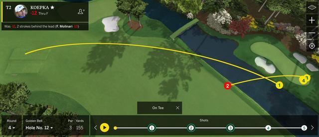 画像: 9番アイアンで打ったケプカはわずかに右に逸れ、池に