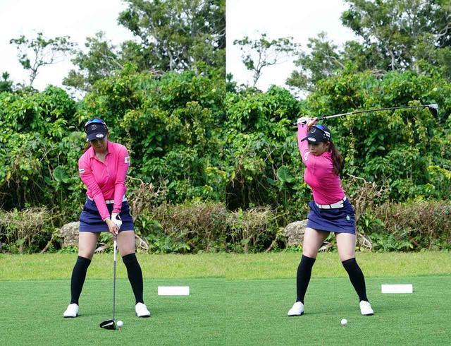 画像: 画像A:切り返しはバックスウィング方向に動きながら切り返しているため、早い段階でボールをつかまえられる体制になっている(写真は2019年のダイキンオーキッドレディス 撮影/姉崎正)