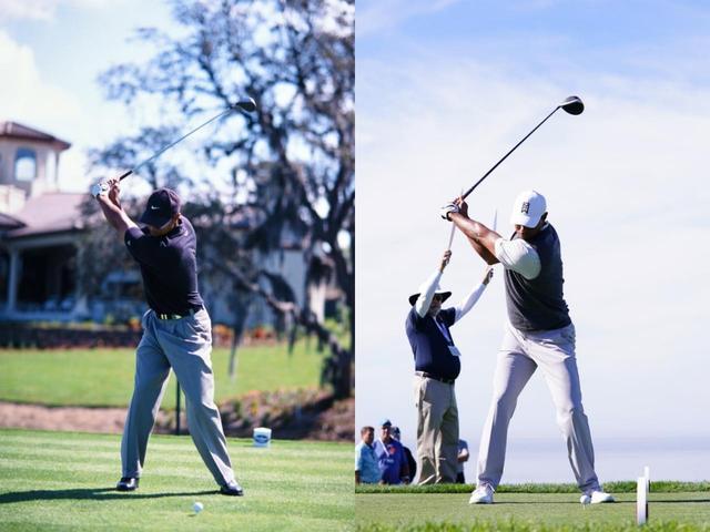 画像: 2000年のスウィングを参考にしているというタイガー。2000年(左)と2019年(右)を比べるとバックスウィングの上げ方など近づいている