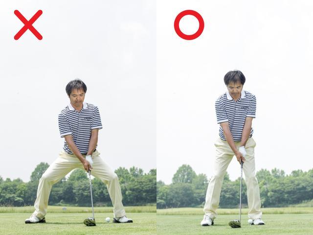 画像: 飛ばしたいなら スタンスは狭く、無理にスタンスを広げるのは、カみにつながってミスを助長してしまう。いつで も楽に歩き出せるくらいの狭さが、柔軟さを生んでしなやかなスウィングを可能にする