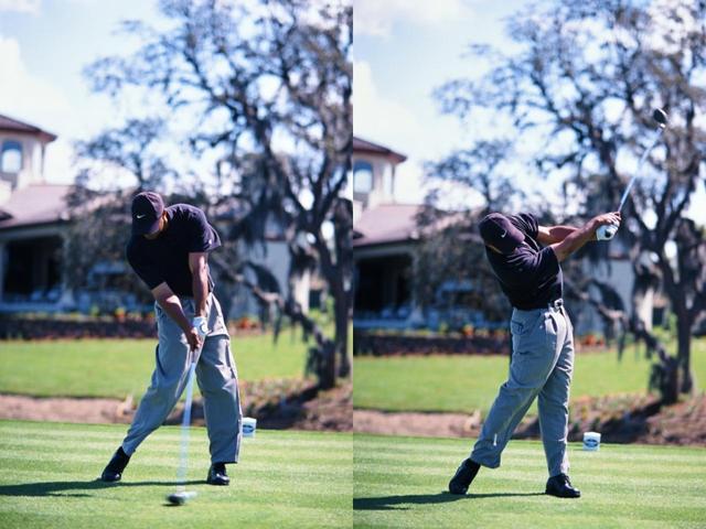 画像: 絶好調だった2000年のスウィングを見ると、今に比べてビハインドザボールが強く、腕のロールも強い