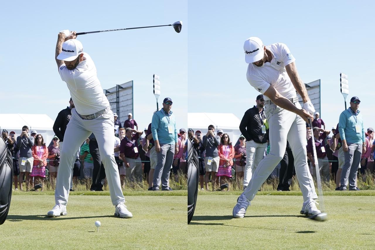 画像: ダスティン・ジョンソンはインパクト時に腰と胸がターゲット方向に向くように体を高速ターンさせている(写真は2018年の全米オープン 撮影/姉崎正)