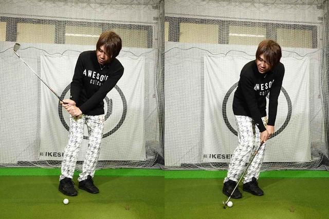 画像: 頭の位置がボールよりも左側にあると、クラブの入射角は鋭角になり様々なミスが起こる