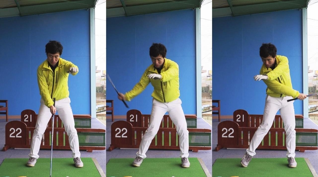 画像: 左肩の肩甲骨を開く動きを意識しつつ、右手1本で片手打ち