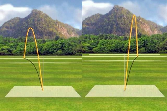 画像: 「G410SFT」のノリーのボール軌道。左がいつも通りのスウィング。右があえてボールを逃がしたスウィング。