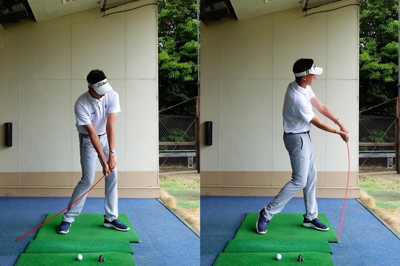 画像: 左手首を手のひら側に折り、ハンドファーストでインパクトする感覚をつかむドリル