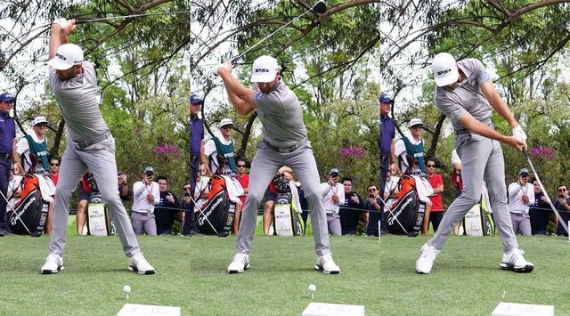 画像: 切り返しで股関節を深く折り込み、インパクトにかけて伸ばしていく。これがDJの飛ばしのポイント(写真は2019年のWGCメキシコ選手権 撮影/姉崎正)