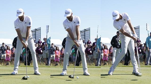 画像: アドレス(左)では手元とクラブが一直線だが、フォワードプレス後(中央)はハンドファーストに。インパクト(右)ではフォワードプレスの形を再現するようにボールをとらえている(写真は2018年の全米オープン 撮影/岡沢裕行)