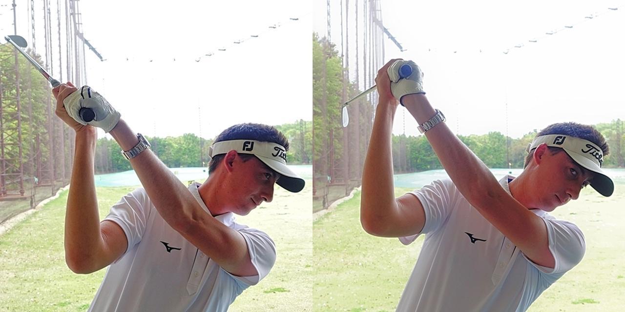 画像: 左手首が手のひら側に折れるのが正しい動き(写真左)。アマチュアは甲側に折れてしまっている(写真右)