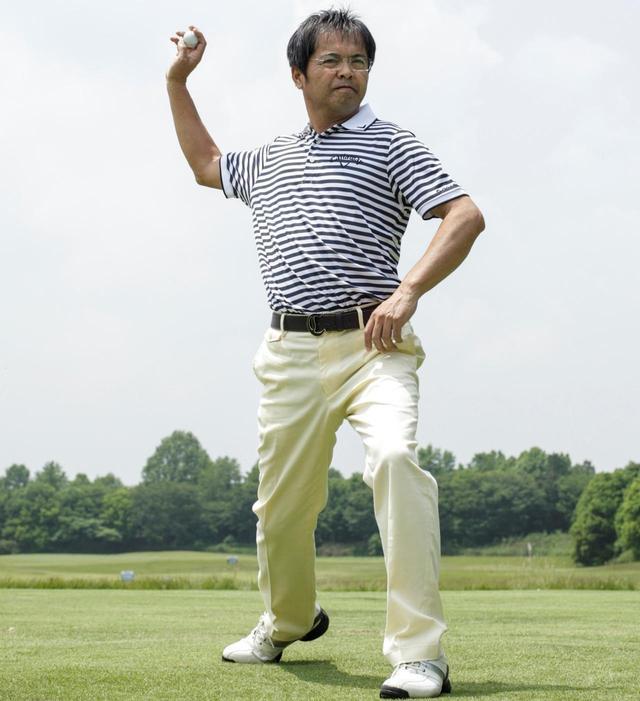 画像: 野球の遠投のように体をゆっくり大きく使う。これが飛距離につながる体の使い方だ