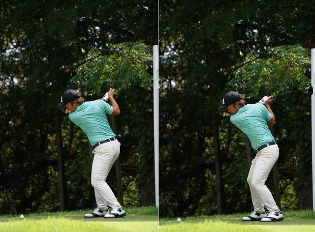 画像: 画像A:高い位置のトップから(写真左)、切り返しではフラットに(写真右)