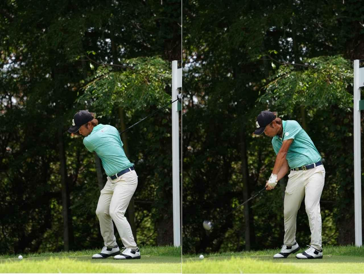 画像: 画像B:フラットな切り返しの結果、手元の位置が低い状態でインパクトを迎える