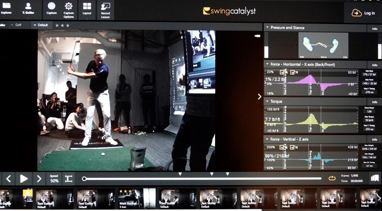 画像: スウィングカタリストのデータ画面。スウィングの動画と足裏の荷重、水平方向、回転力、地面反力が可視化されて表示される