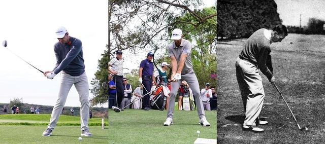 画像: スウィングの流れの中で自然とフェースを閉じていくローズ(左)、最初からシャットにクラブを上げるDJ(中)と、インパクト直前にフェースを閉じるベン・ホーガン(右)。プロでもそれぞれタイミングは違う