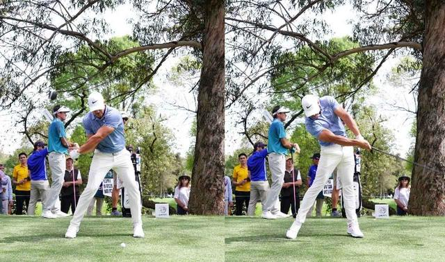 画像: 画像C:左ひざを伸ばすように使うことで地面反力を大きく使いクラブを加速させている