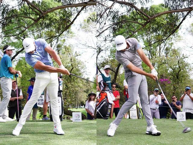 画像: ケプカ(左)、DJ(右)ともに、フェースを返さないようにする動きを取り入れている