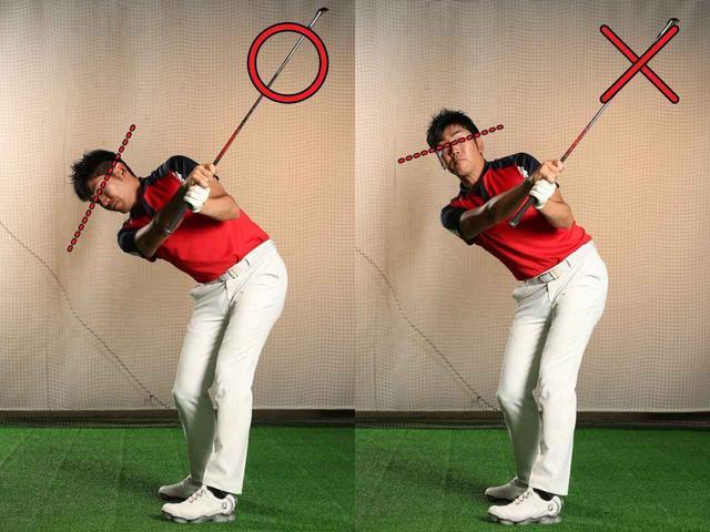 画像: フォローでも両目を結ぶラインの傾きは保つ意識が必要。両目のラインを水平に保つ意識を持つと、肩がヨコに回る可能性が高く、「地面反力」 を十分に生かすことができない
