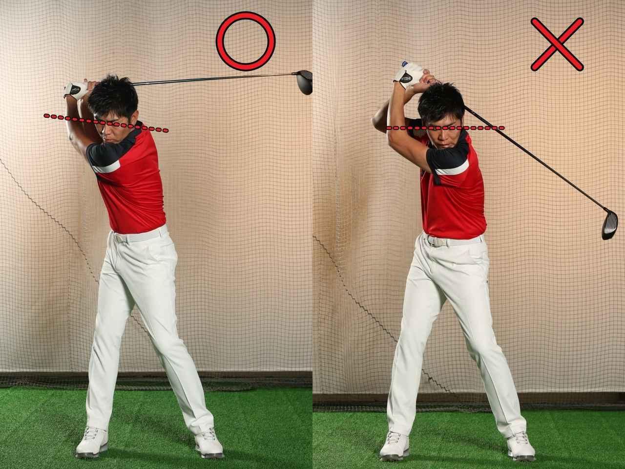 画像: 両目を結ぶラインが傾く、つまり視界が傾くことに違和感を持つと「前後軸」を中心とした体の振り子のようなタテの回転が損なわれてしまう可能性が高いので注意が必要だ