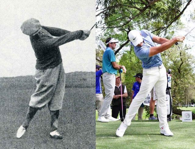 画像: ジョーンズ(左)とケプカ(右)は腰を開かず、フォローで左足が伸びている