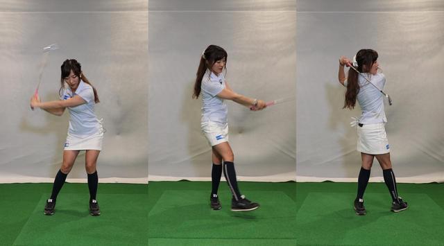 画像: スウィングの体重移動に合わせて右足を踏み込もう