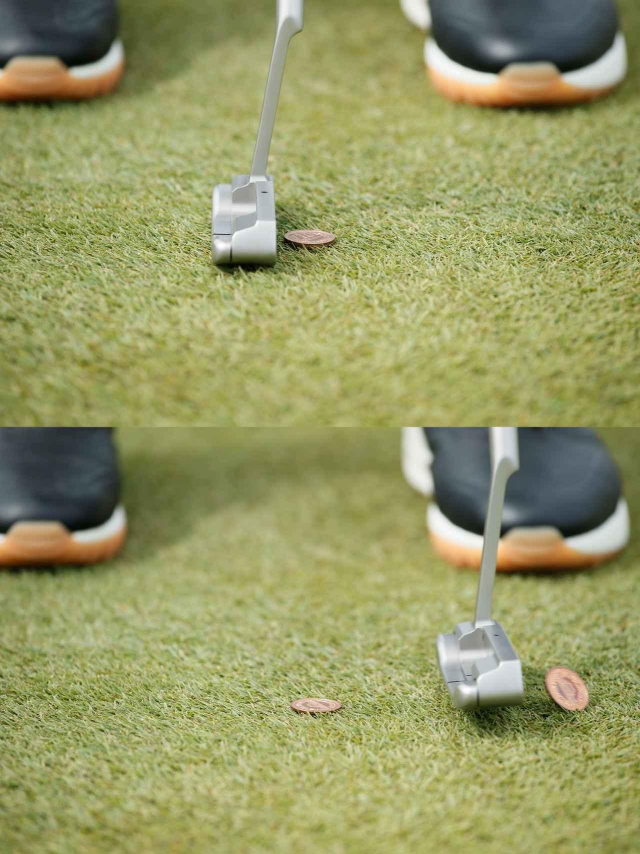 画像: 芝の上に置くと下の1枚はほぼ見えないが、上の1枚だけを正確にヒット……まさに神業だ