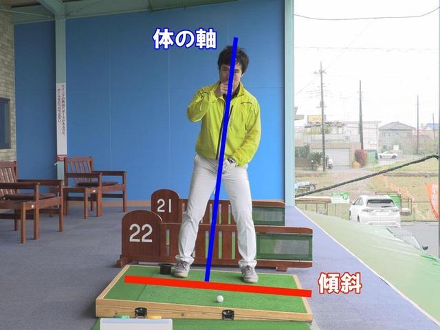 画像: 体の軸の傾き、左足体重の度合いは傾斜によって変わる