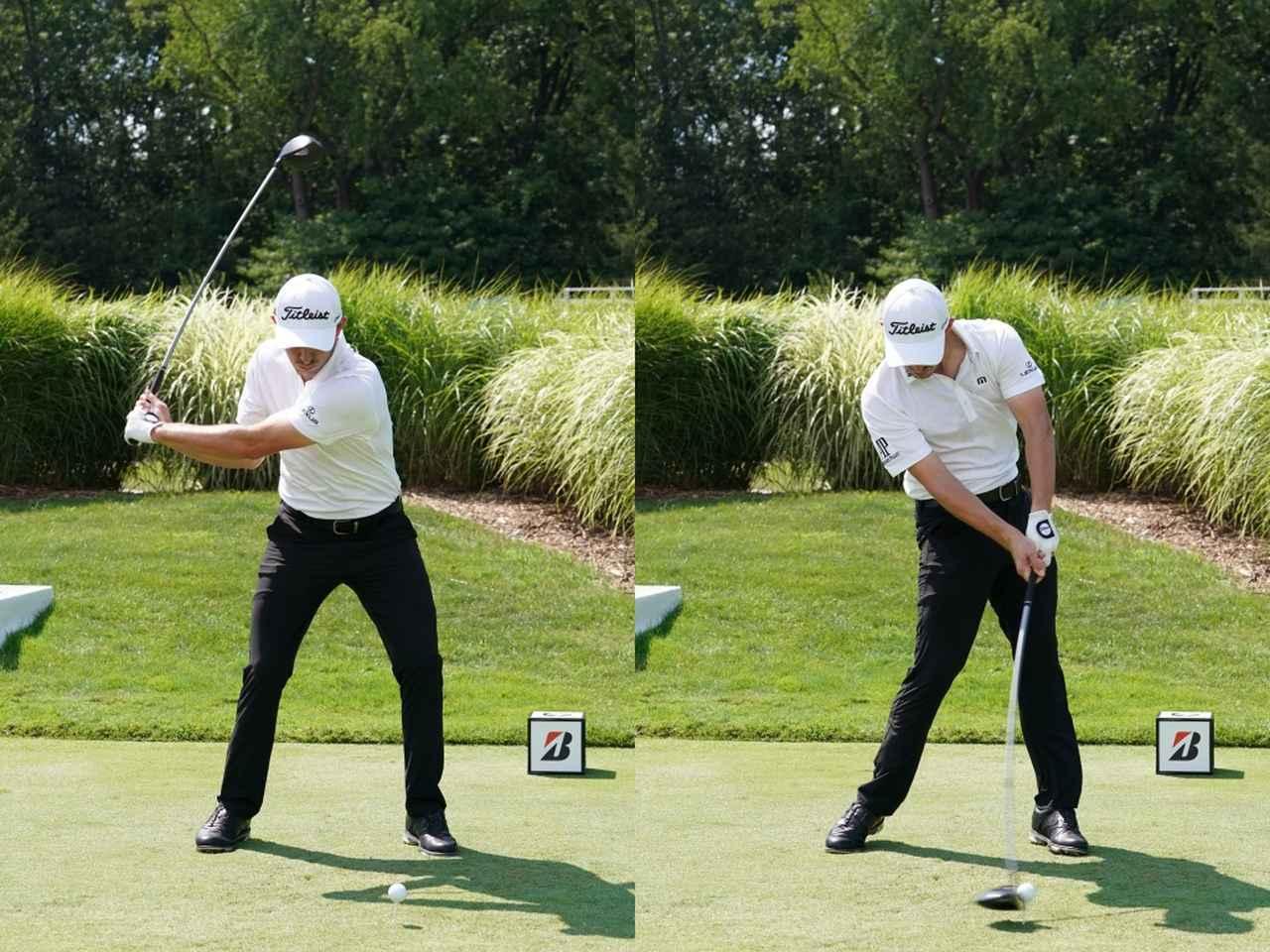 画像: インパクトで左足が伸び、地面反力を使っているカントレー(写真は2018年のWGCブリヂストンインビテーショナル 撮影/姉崎正)