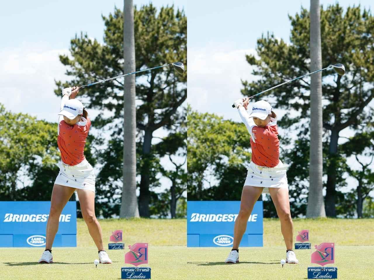 画像: 画像B。トップ(左)からクラブの位置はほぼ変わらないが、左足が動き、腰はほぼ正面を向いている(右)