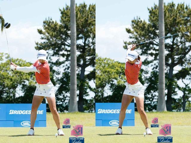 画像: 画像A。左腕がピンと伸びるワイドなバックスウィング(左)から、しっかりと上体がねじられたトップ(右)が作られる