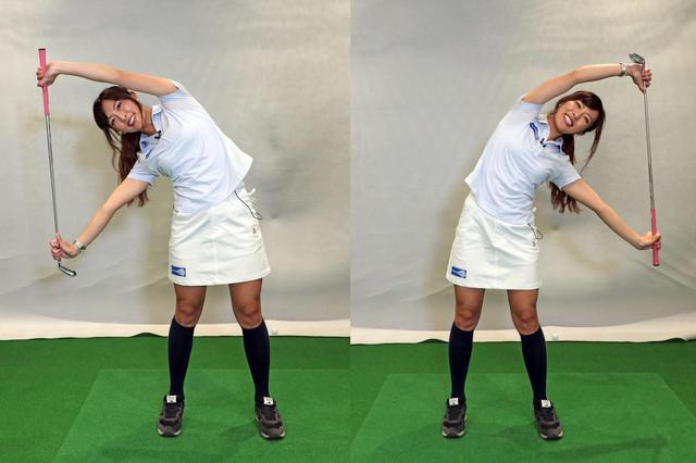 画像: クラブを持って頭の上で万歳をした状態から体を左右に倒していく