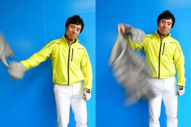 画像: タオルや布類などを持って腕を上下に動かしてみると、ヘッドの加速をイメージしやすい